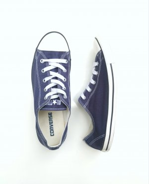 Converse All Star blaue Low Chucks dunkelblau einmal getragen
