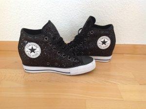 Converse All Star High Top Chucks Glitzer Schwarz Größe 38 mit Keilabsatz