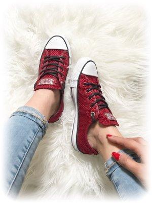 Converse Allstar Sneaker, dunkelrot, weinrot, Bordeaux, gewebte Struktur, Gr. 36.5