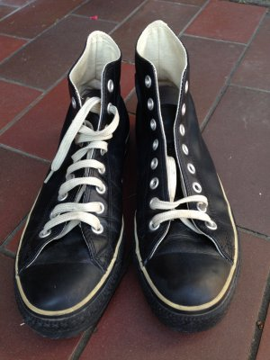 "Converse Chucks All Star Leder schwarz, Gr. 42, ""Winterchuck"""