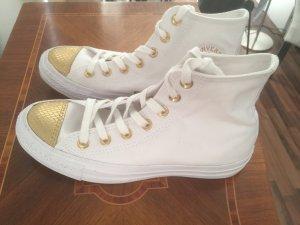 Converse Chucks Taylor All Star Sneakers - weiß mit gold, Größe 38