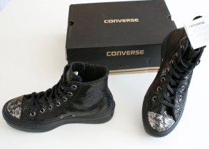 Converse Hi All Star Chucks - Black Shiny Snake