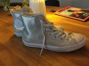Converse high Silber Gr 38 - selten getragen