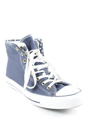 Converse High Top Sneaker dunkelblau-weiß Punktemuster sportlicher Stil