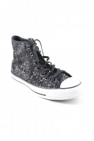 Converse High Top Sneaker black-white glittery