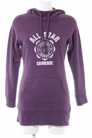 Converse Kapuzensweatshirt dunkelviolett Motivdruck Casual-Look