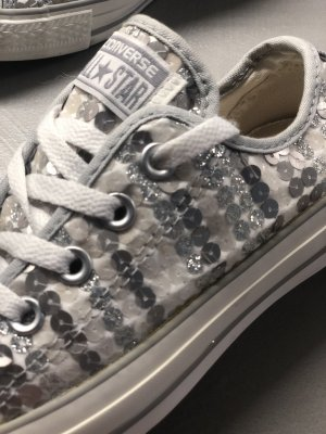 Converse Pailetten grau/weiß /beige