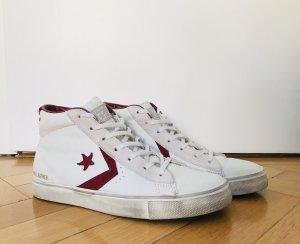 Converse Pro Leather Sneaker Damen High 39 weiß Bordeaux rot