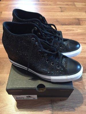 Converse Sneaker mit Keilabsatz schwarz Glitzer 40