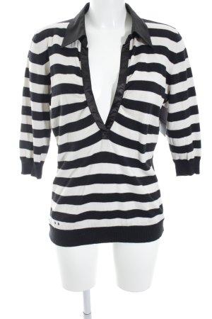 Converse V-Ausschnitt-Pullover schwarz-hellbeige Streifenmuster Casual-Look
