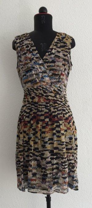 cool gemustertes und drapiertes Seidenkleid von Matthew Williamson, Größe 36