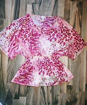H&M Kimono blouse wit-framboosrood