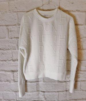 Cool Sweat Pulli Jacqueline de Yong Größe S 36 Weiß Schriftzug Geprägt weich Pullover Kurzpulli