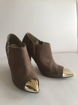 Bata Zipper Booties grey brown-gold-colored