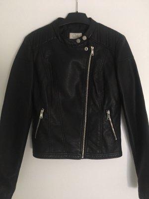 Coole Biker Jacke schwarz Lederimitat 36