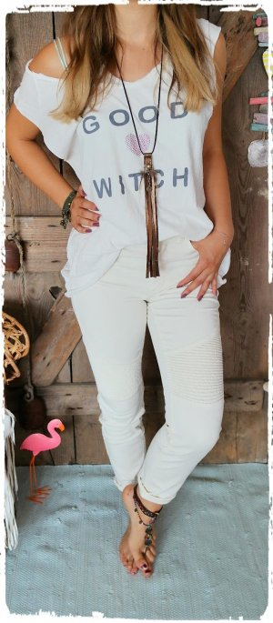 coole Biker Jeans in creme
