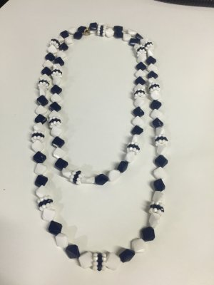 Necklace white-dark blue synthetic material