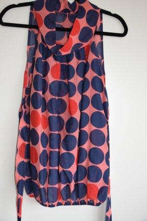 Coole Bluse aus Seide-Baumwolle mit Riesenpunkten - neu