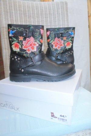 coole Boots mit Blumen * Nieten * Biker - Style * Gr. 39 * einmal getragen *