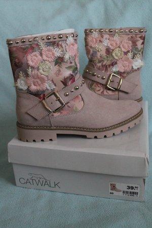 coole Boots mit Blumen * Nieten * Biker - Style * Gr. 40 * NEU *