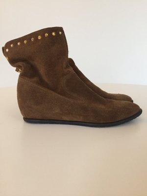 Coole Boots Stiefeletten Booties aus Wildleder Braun Gr.39 mit goldenen Nieten