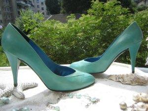 Coole Charles Jourdan Vintage Schuhe Knall Türkis NP 245 €  Retro Top Trendy