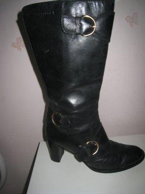 Coole Comma Lederstiefel Bronze Schnallen Blockabsätze NP 157 €