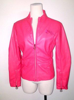 coole Damen Lederjacke - Bikerjacke mit Stehkragen - pink von Eilte - Gr. S