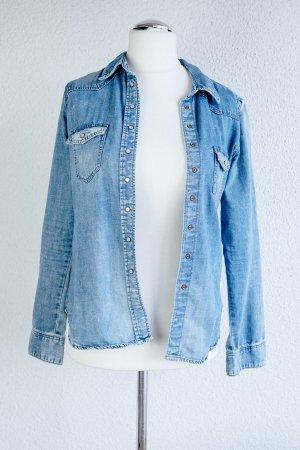 Coole Denim Bluse - Vintage Look - H&M - Perlenknöpfe - Gr. M 38