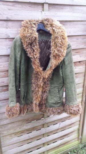 Coole echt Tibetlamm Jacke  Pelzjacke Lammfell Wildleder Grün Vintage gr M 38