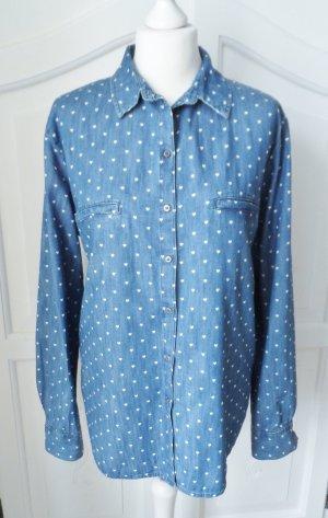 edc by Esprit Jeans blouse blauw-wit Katoen