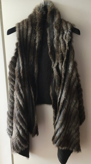 Fur vest grey-dark grey fur