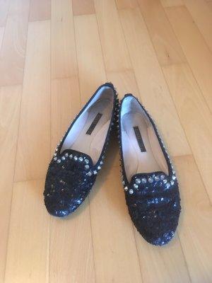 Coole flache Schuhe Pailletten Nieten