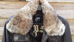 Coole Gipsy Lederjacke w.Neu Echt Pelz Leder Bikerjacke Jacke Antik Braun gr S