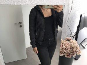 H&M Chaqueta de tela de sudadera negro-gris oscuro