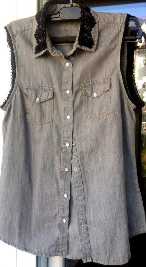 coole graue jeans weste