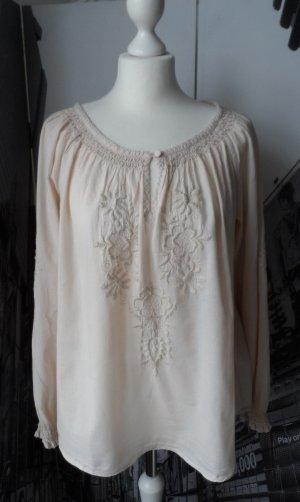 coole H&M Bluse Tunika Gr. 40 Beige mit Stickerei wenig getragen