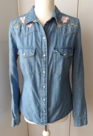 coole H&M Jeansbluse Gr. 38 mit Stickerei nur 1 x getragen