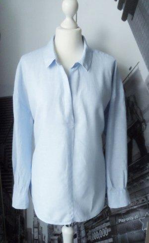 H&M Blouse en lin bleu azur tissu mixte