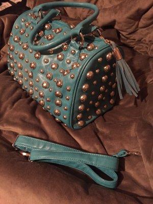 Coole Handtasche in petrol mit runden Nieten
