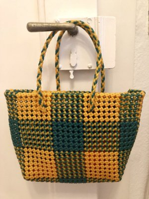 Bolso barrel amarillo-verde bosque