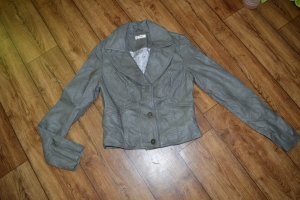 Coole herbstliche graue Jacke Lederfake Gr.36 Orsay