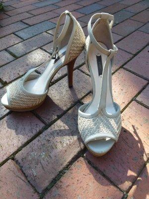coole High Heel Sandalen mit Plateau, geflochten, Holzoptik