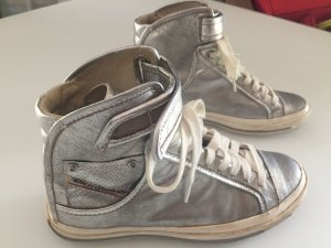 Diesel Lace-Up Sneaker silver-colored leather