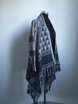 Coole hochwertige Poncho-Jacke in grau in M/L