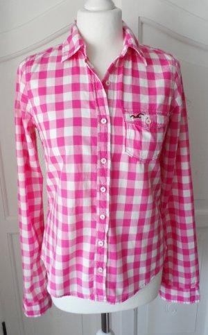 coole Hollister Karo Bluse Gr. S Pink Weiß kariert wenig getragen