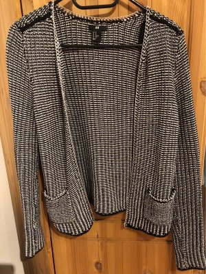 H&M Knitted Blazer white-black cotton