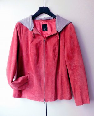 BC Collection Veste en cuir rouge framboise daim