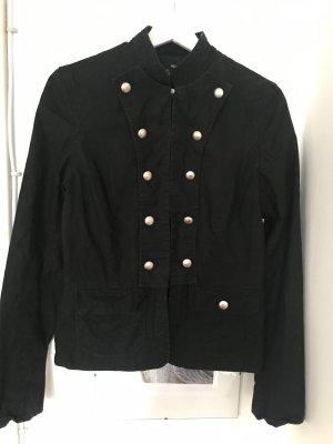 H&M Chaqueta estilo naval negro-color plata