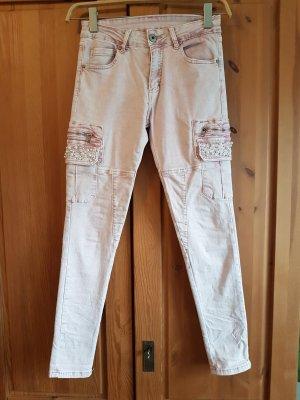 Jeans a 7/8 rosa antico-rosa pallido